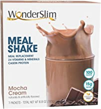 WonderSlim Meal Replacement Shake, Mocha Cream, 24 Essential Vitamins & Minerals, Only 100 Calories, 15g Caseinate Protein...