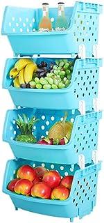 Lot de 4 boîtes de rangement empilables en plastique pour fruits et légumes TXXCI - Bacs de rangement polyvalents pour art...