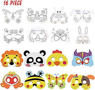 Cozywind Máscaras Animales para Niños Colorear, Caretas Animales para Fiestas, Halloween, Cosplay, Cumpleaños, Manualidades Infantiles- Kits de 16piezas