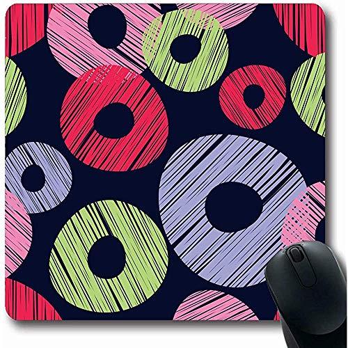 Mousepads Geometrische Groene Abstract Patroon Rood Lila Roze Boho Zwart Blouse Canvas Tapijt Ontwerp Scribble Oblong Vorm 18X22Cm Antislip Gaming Mouse Pad
