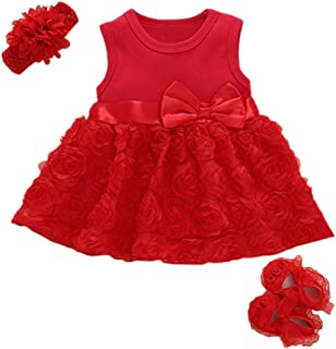 Baby Girls Clothes Dress Headband Shoes 3 Pcs Set Flowers Party Outfit