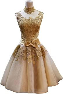 Elley Women s A Line High Neck Sleeveless Applique Short Homecoming Party  Dress 4988c40ce