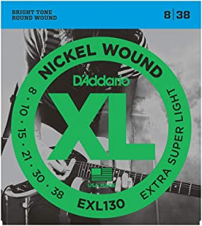 D'Addario EXL130 Cordes en nickel pour guitare électrique Extra Super Light 8-38
