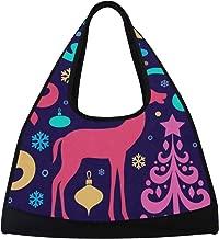 Gym Bag, Sports Duffle Bag Christmas Tree Decorations Deer Training Handbag Large Travel Shoulder Tote Bag Tennis Badminton Racket Bag for Men Women