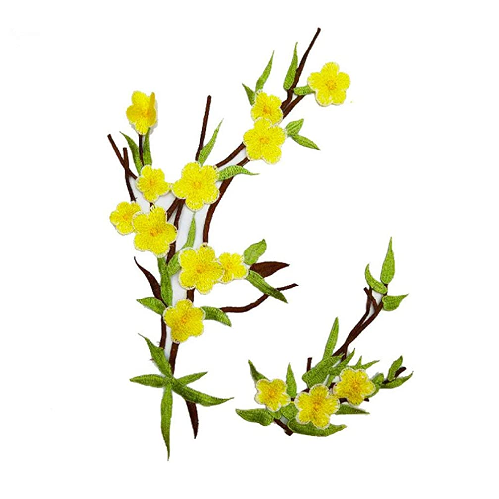 2 Pcs Plum Blossom Flower Applique Clothing Embroidery Patch Fabric Sticker Iron On Sew On Patch Craft Sewing Repair Embroidered (Yellow)