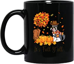 It's Fall Y'all Schnauzer Pumpkin Fall Autumn Thanksgiving 11 oz. Black Mug