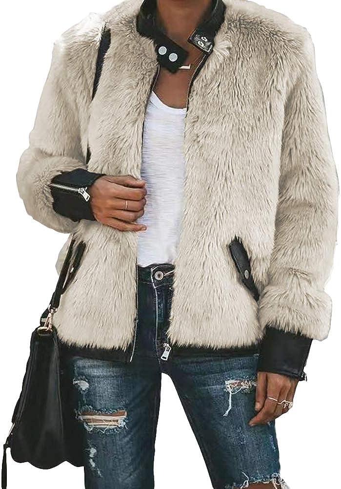 Women Faux Fur Jacket Coat Biker Teddy Bear Pocket Fleece Zip Up Outwear