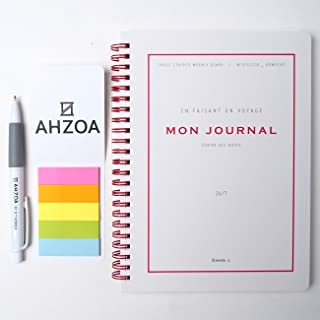 Mon Journal Diary Set Including AHZOA Pencil and AHZOA 5 Colors Sticky Flag (Gray)