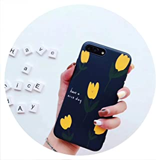 Matte Soft Shell Phone Case for iPhone Xs XR XS Max 8 7 6 6s Plus X Ins Retro Simple Small Yellow Flower All-Inclusive,A,for iPhone 8
