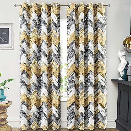DriftAway Herringbone Geometric Stripe Printed Pattern Energy Saving Thermal Insulated Blackout Window Curtain Grommet 2 Layers 2 Panels 52 Inch by 84 Inch Gold Gray Black