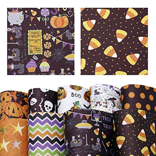David accessories Halloween Pumpkin Printed Faux Leather Sheets Fabric Non-Woven Back 9 Pcs 8 x 13 (20cm x 34cm) for Making Bags Crafting DIY Sewing Festival Decor (Halloween Pattern A)