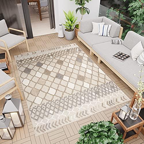 TAPISO Patio Alfombra de Terraza Cocina Externo Interno Moderno 3D Beige Gris Crema Marrón Marroquí Sisal 200 x 300 cm