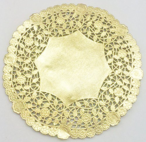 10 Inch Gold Round Lancaster Paper Doilies 50 Count