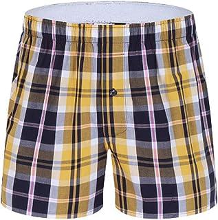 Wofupowga Mens Elastic Waist Loose Shorts Big and Tall Plaid Cotton Boxers