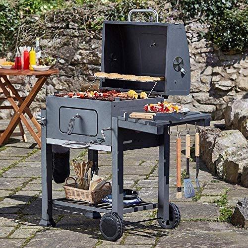 61kHqSHPyoL - HIZLJJ Feuerstellen, Holzkohlegrill Grillen im Freien, Camping, Tailgating Charcoal Rack-Grill inklusive Faltbare Edelstahl-Grill-Tools Barbecue Grill Regal
