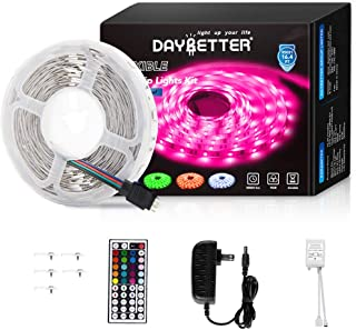 Led Strip Lights 16.4ft 5m Flexible Color Changing RGB Led Light Strip 5050 150leds LED Tape Lights Kit with 44 Keys IR Remote Controller and 12V Power Supply