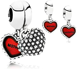 PANDORA Piece Of My Heart, Mother/Daughter, Red Enamel Charm Pair