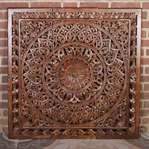 Casa Moro Orientalisches XXL Holz Mandala Hossam 3tlg 110x110 cm Shabby Chic braun handgeschnitzte Wand-Dekoration aus MDF   hängend & stehend   Fensterdeko & Weihnachtsdeko   MD2039