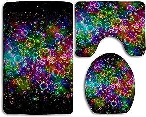 SARA NELL Non-Slip Bath Mat Set Colorful Rainbow Tie Dye Bubble 3-Piece Soft Bath Rug Set Includes Bathroom Rugs/Contour Mat/Toilet Cover
