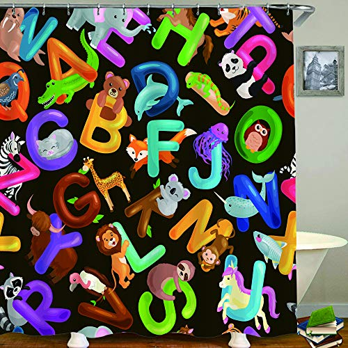 HUAYEXI Duschvorhang 180x180cm,nahtloses Muster Tiere Alphabet für Kinder ABC Bildung in der Vorschule,Duschvorhang Wasserabweisend-Duschvorhangringen 12 Shower Curtain mit