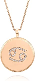 PAVOI 14K Rose Gold Plated Astrology Coin Constellation Necklace   Dainty Necklace for Women   18