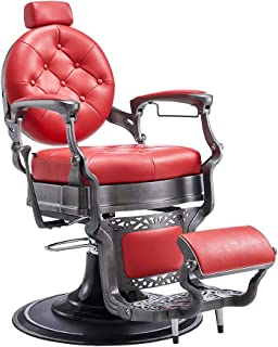 Heavy Duty Barber Chair Men's Grooming Barbershop Hydraulic Chair - Vanquish (Brushed Red)