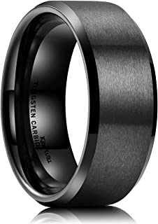 Basic 6mm 7mm 8mm 9mm 10mm Men Wedding Black Tungsten Ring Matte Finish Beveled Polished..