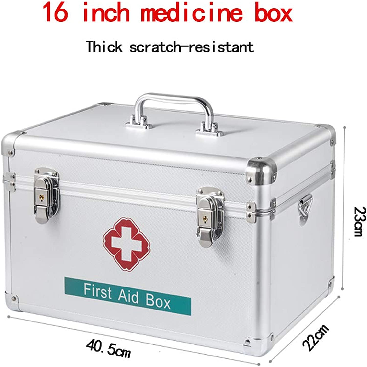 Medicine Cabinet, Double Storage Box Durable Aluminum Frame Double Security Lock Large Capacity Medical Storage Box First aid kit