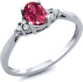 Gem Stone King 14K White Gold Pink Tourmaline and Diamond Women`s Engagement Ring (0.56 Cttw, Gemstone Birthstone, Available 5,6,7,8,9)
