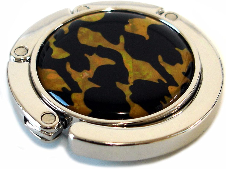 Antique Alive Mother of Pearl Tiger Skin Foldable Table Purse Caddy Handbag Holder Hanger Hook Gift Set, Black