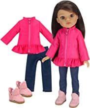 """Black And Silver Coat And Hat Fits 14.5/"""" Wellie Wisher American Girl Clothes"""
