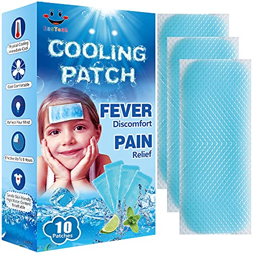 EasYeah Kids Cooling Patches for Fever Discomfort & Pain Relief, Cooling Relief Fever Reducer, Soothe Headache Pain, Pack of 10