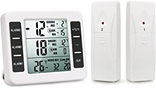 Refrigerator Thermometer,Digital Fridge Themometer with 2 PCS Wireless Sensors, Indoor Outdoor Temperature Monitor with Audible Alarm Temperature Gauge Thermometer(Battery not Included)