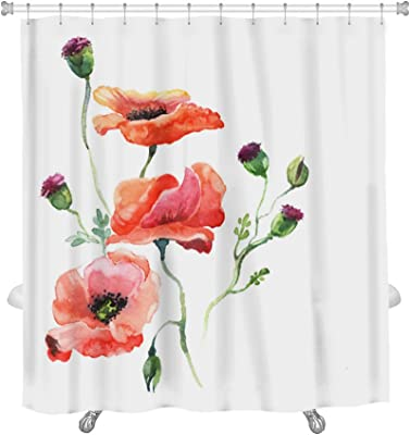 """Gear New The Poppy Watercolor Isolated Shower Curtain, 74"""" x 71"""""""