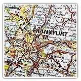 Impresionantes pegatinas cuadradas (juego de 2) 10 cm – Frankfurt am Main Alemania mapa de viaje alemán divertido calcomanías para portátiles, tabletas, equipaje, reserva de chatarras, neveras, regalo fresco #45064