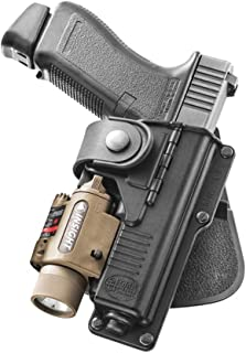 Fobus Tactical RBT19 Standard Right Hand Conceal Carry Polymer Paddle Light Laser Holster For Glock 19,23,32 Walther P99 - Black