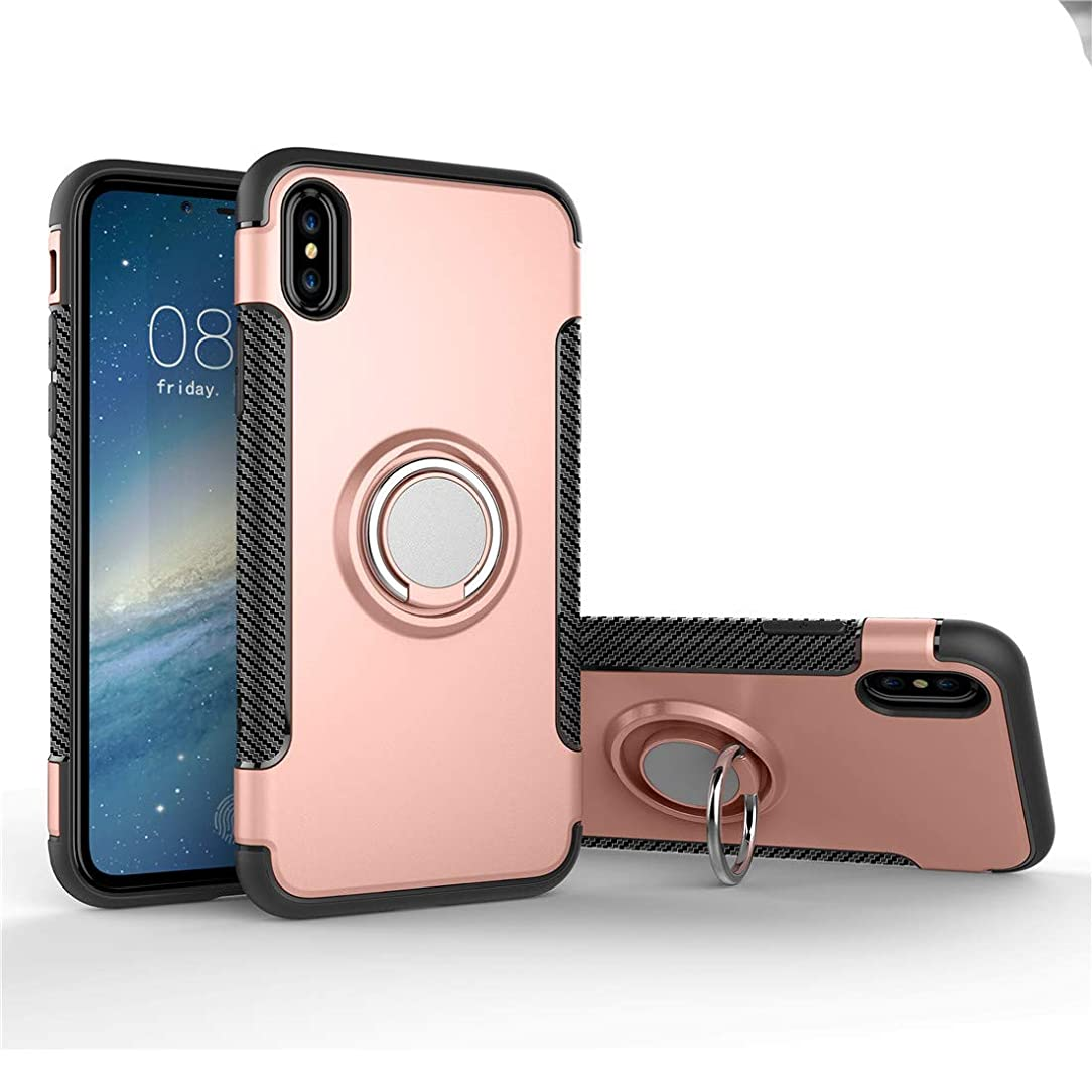 Mingwei for iPhone Xs Max Case, [with 360 ° Kickstand] Rotating Ring Case [Dual Shockproof] Adsorbable [Magnetic Car Mount] Protection Cover Compatible with iPhone Xs Max (iPhone Xs Max, Rose Gold)