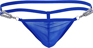 YiZYiF Mens Underwear Mesh Pouch G-string T Back Thong Beads Dual Strap Waistband Lingerie