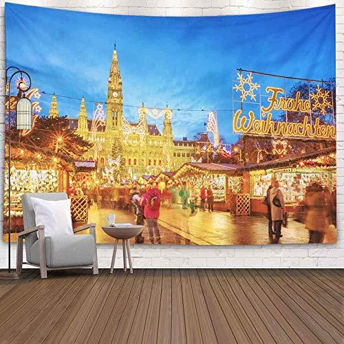 OMNHGFUG Tapiz de pared de invierno para Navidad, Día de Acción de Gracias, 20 x 152 cm, mercado de Navidad en Viena, Austria, tapiz para colgar en la pared, tapiz para dormitorio, hogar