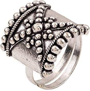 Voylla Rava Ball Silver Oxidized Plated Ring. for Women