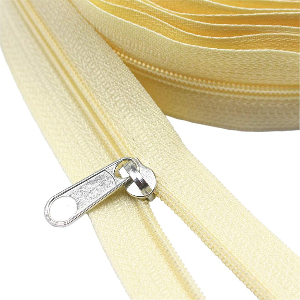 Meillia Beige Nylon Coil Zippers by The Yard Bulk 10 Yards + 25PCS Silver Pulls for Sewing, Bags, Crafts, Decorating (Beige Colour)