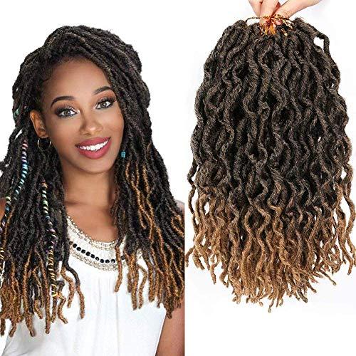 LEEONS 6Packs/Lot 12'' Wavy Faux Locs Boho Locs Crochet Synthetic Braiding Hair Pre-loop Crochet Braids Soft Curly Faux Locs Hair Extensions Braids Dreadlocks 20Roots/PCS(12inch,#T-27)