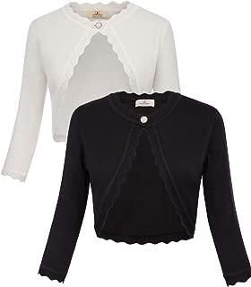 Women's Classic 3/4 Sleeve Open Front Knit Cropped Bolero Cardigan S-3XL