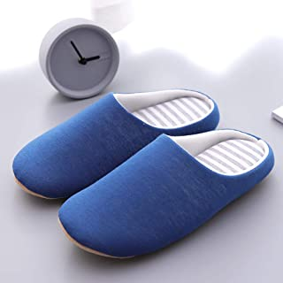 LYLCC New Autumn And Winter Cotton Slippers - Warm Striped Slippers In The Indoor Non-slip Winter House Shoes Casual Home Plush Slippers Couple Bedroom Soft Bottom Comfortable Non-slip Slippers