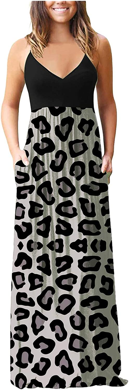 Aniwood Dress for Women Casual Elegant,Women's Short Sleeve Deep V Ruffled Maxi Dresses Casual Long Dresses with Pockets