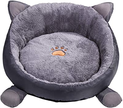 Yiuu Cat Ears Round Dog Bed Kennel Washable Cat Dog House Bed Super Soft Cotton Mats