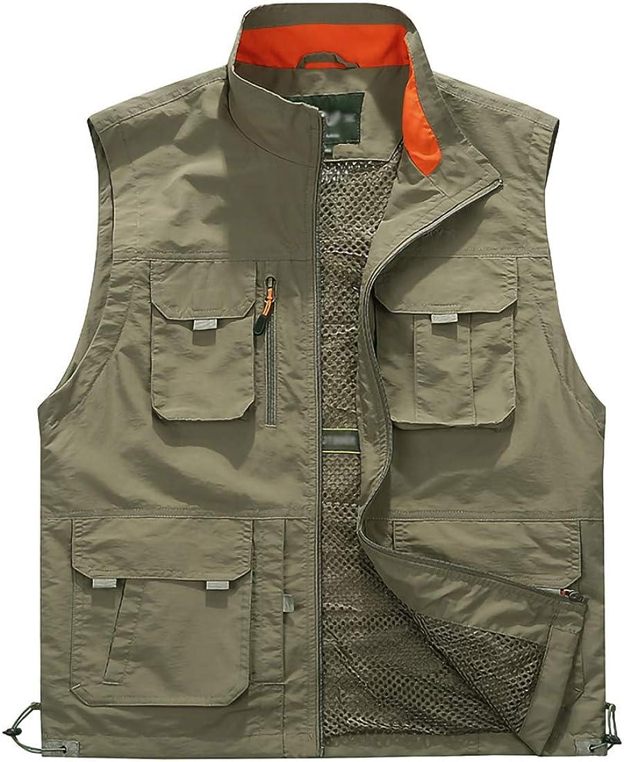 Anpox Men's Vest Outdoor Working Photography Climbing Tourism Fishing Waistcoat Multi-Pocket