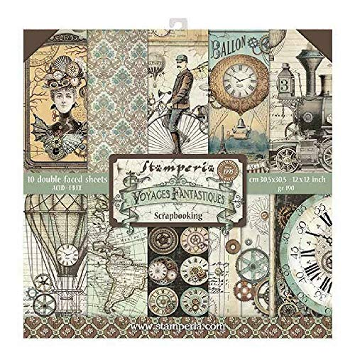 Part of the Stamperia Voyages Fantastiques collection Substantial 190 gsm paper 10 double sided sheets Huge range of complementary products 12 x 12 inch pad