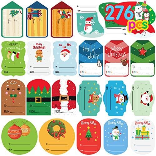 Christmas Gift Tags Self Adhesive Nice Size Christmas Labels for Gifts 276 Pieces Christmas Gift Tags Christmas Santa Claus Stickers Self Adhesive Christmas Tag Christmas