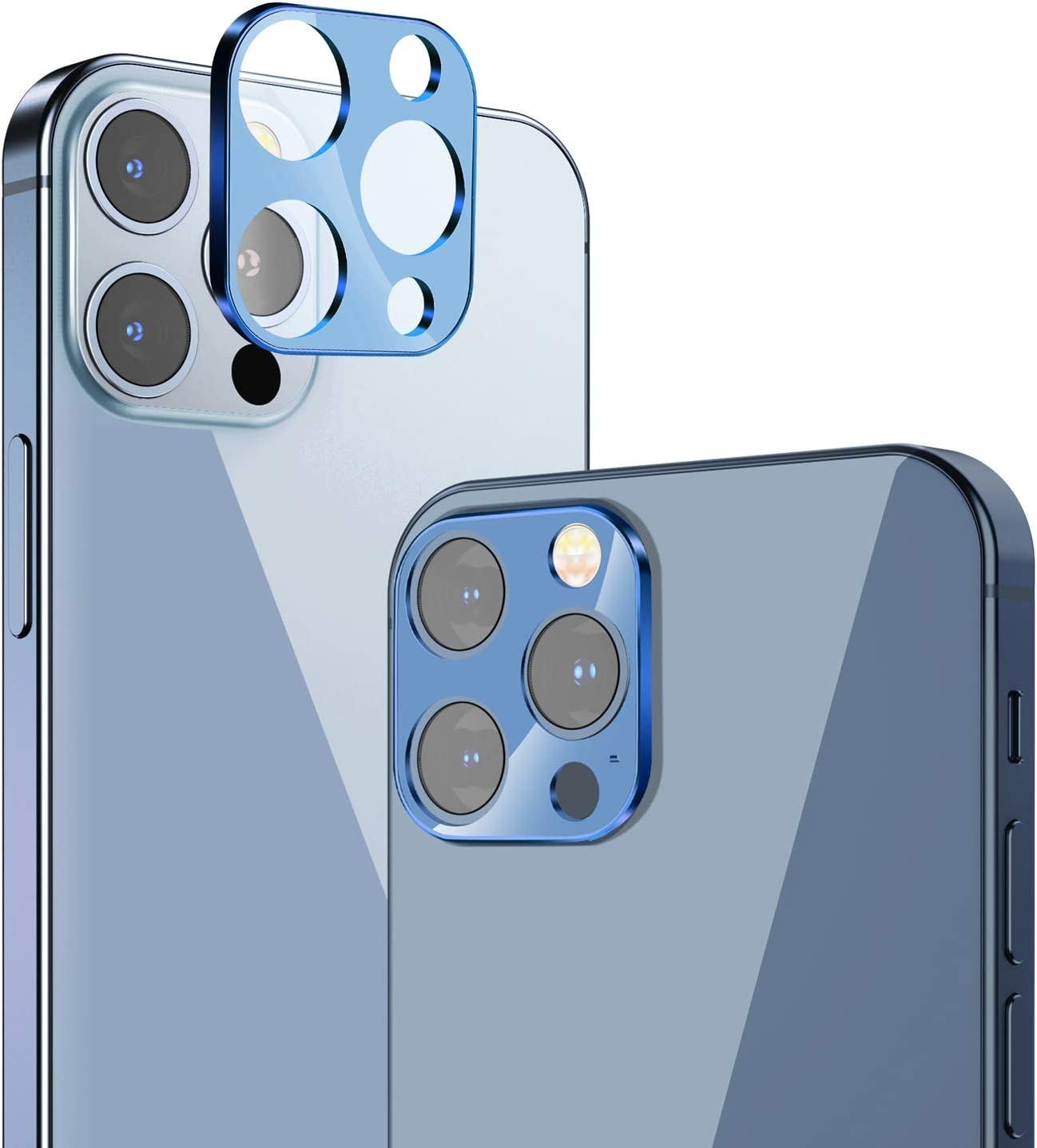 Cupecoo Camera Lens Screen Protector Compatible with iPhone 12 Pro Max 6.7 inch, Aluminum Alloy Lens Protective Ring Metal Tempered Glass Cover Film - HD/Dust-Proof/Anti-Scratch (Pacific Blue)